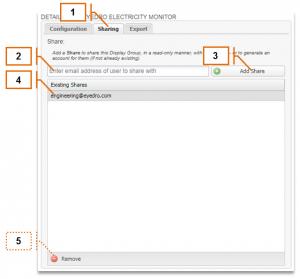 Screenshot of MyEyedro Client - Sharing a Display Group
