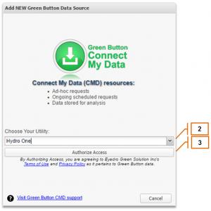 Screenshot of MyEyedro Client - Adding Green Button Data