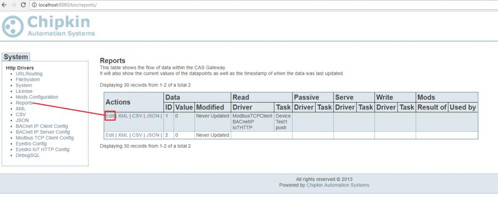 Screenshot of Edit Reports