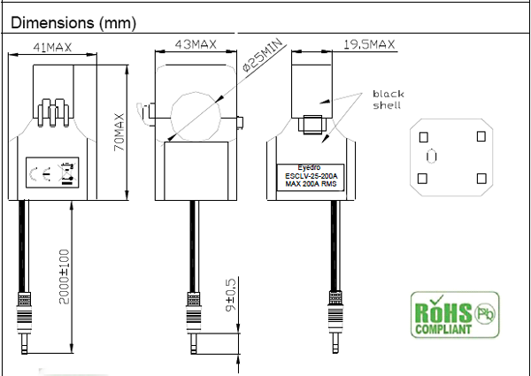 Eyedro 200 amp CT dimensions