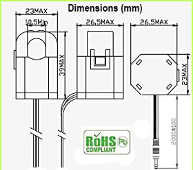 10 - 60 Amp Current Sensor Dimensions