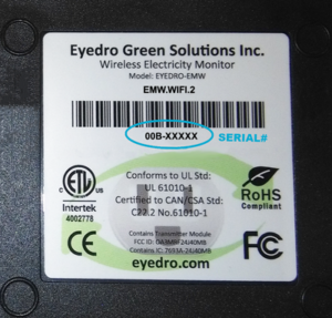 Eyedro Serial Number Label